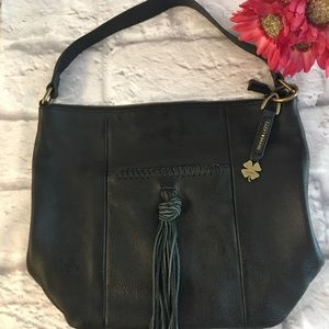 Lucky Brand Black Purse Handbag with Fringe accent